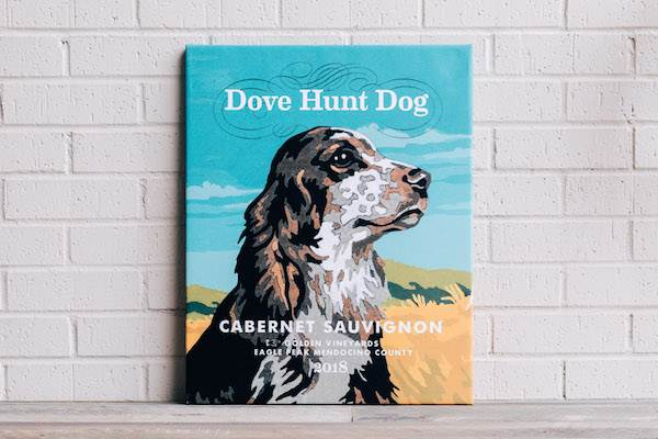 Dove Hunt Dog Wrapped Canvas - Cabernet Sauvignon
