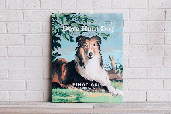 Dove Hunt Dog Wrapped Canvas - Pinot Gris