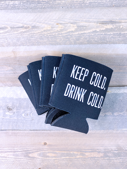 Keep Cold Drink Cold Koozie Small Black S/4