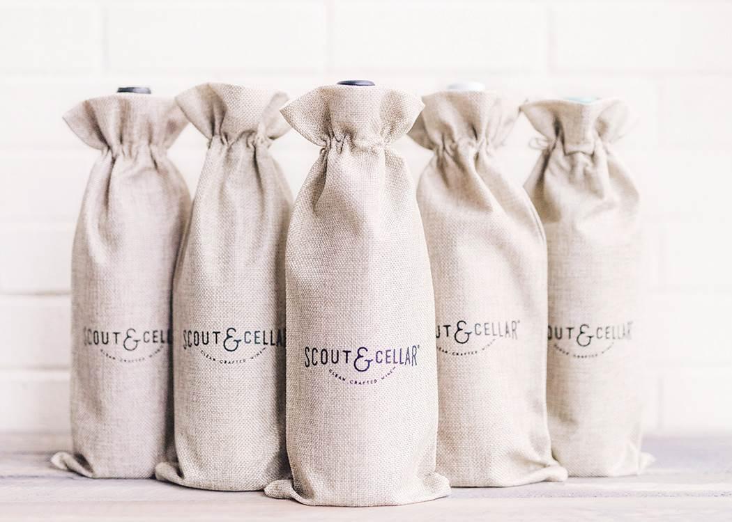 Burlap Wine Bags Set of 5